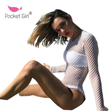 Pocket Girl 2017 Summer Women Long Sleeve White Solid Hollow Out Grenadine Backless Sexy Beach One Piece Swimsuit Cover Up(China)