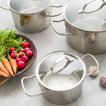 304 stainless steel pot thickened double bottom pot soup pot electromagnetic gas stove general 24CM milk pot