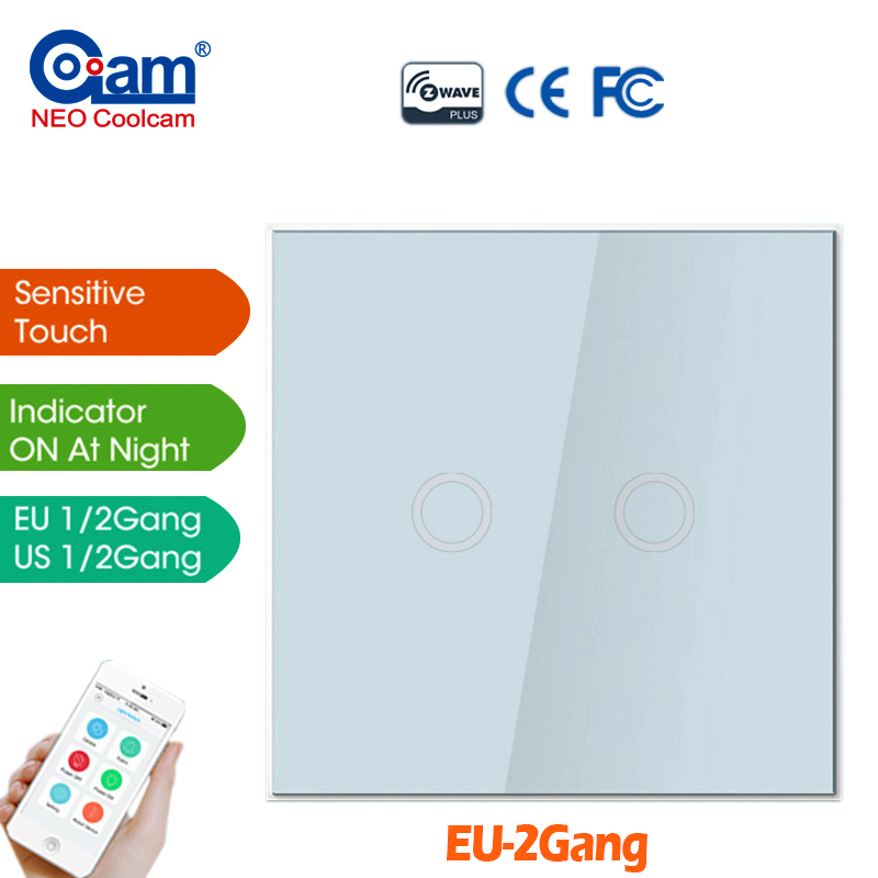 NEO COOLCAM NAS-SC01Z Z-wave Wall Light Switch 2CH Gang Home Automation Z Wave Wireless Smart Remote Control Light Switch<br>