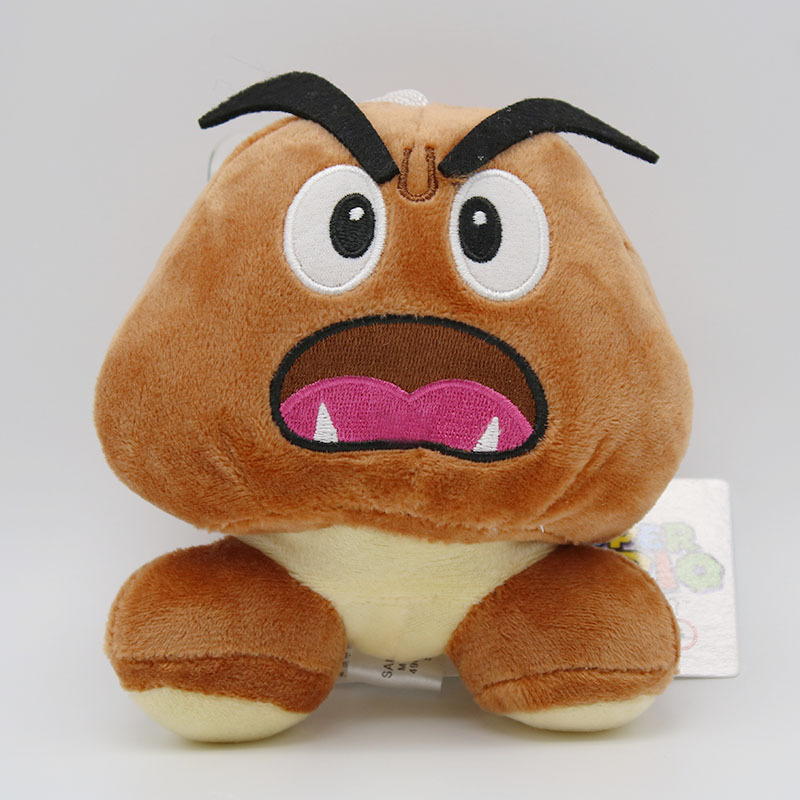 Super Mario Bros Goomba Plush Toys Game Cartoon Poisonous Mushrooms Soft Stuffed Dolls 5pcslot  (1)