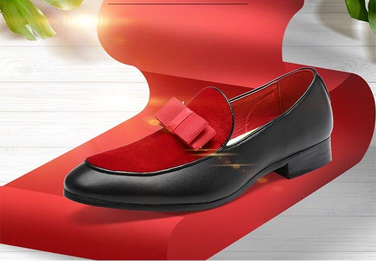 2018 Gentlemen Bowknot Wedding Dress Male Flats Casual Slip on Shoes ... ddb92ccbeef4