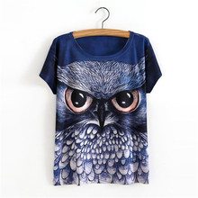 2017 New Fashion Vintage Spring Summer T Shirt Women Clothing Tops Animal Owl Print T-shirt Printed Blue Women Clothes
