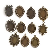 10pcs 18*25mm Mixed Design~Antique Bronze pendant Setting,alloy base setting flower cabochon resin cameo,Glass tray(China)
