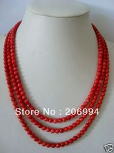 factory price new arrive Beautiful 3 rows 5-6mm red coral Necklace fashion jewelry free shipping