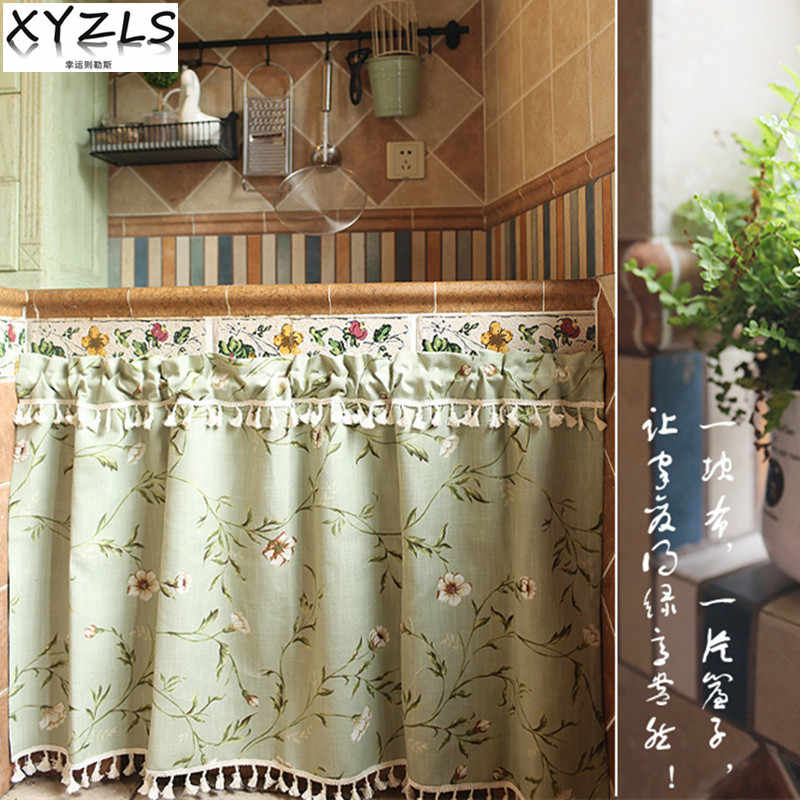 XYZLS New Pastoral Floral Cupboard Screen Kitchen Curtains Cafe Curtain Short Panel Door Curtain Window Treatment