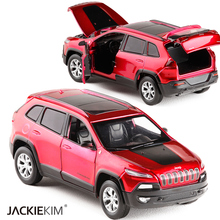 New 1:32 Jeep Cherokee alloy car model diecast toy SUV Grand Cherokee with pull back sound light for boy gift Free Shipping(China)