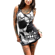 2017 New Fashion Sexy Skull Dress Plus Size Polyester Straight Dresses Vestidos Print Sleeveless Mini Dress Club O-Neck OFN6011(China)
