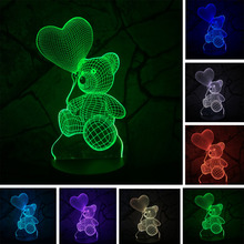 Baby Kids Night 3D Lamp LED Lighting Color Change Sensor LED Bear Night Light Heart Balloon Home Room Decoration Best Child Gift(China)