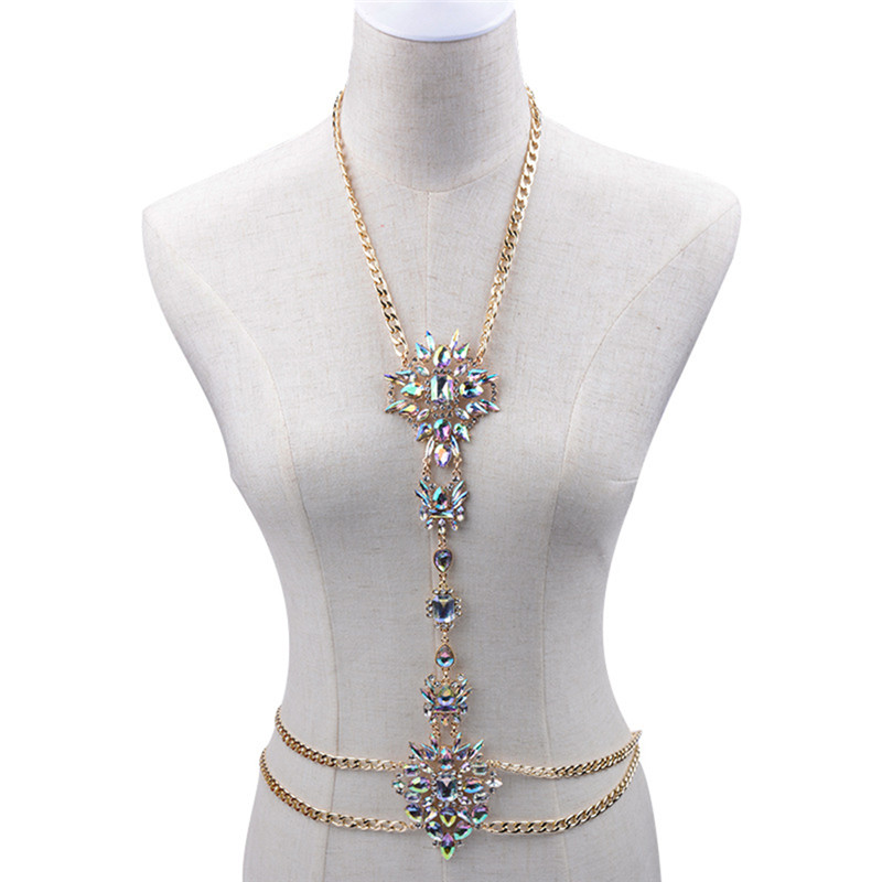 Luxury Sexy Design Body Chain Long Necklace Gold Maxi Chain Body