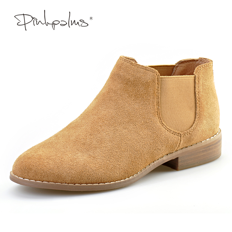 Pink Palms new summer/autumn shoes round toe thick heel ankle boots square heel flat genuine leather boots<br>