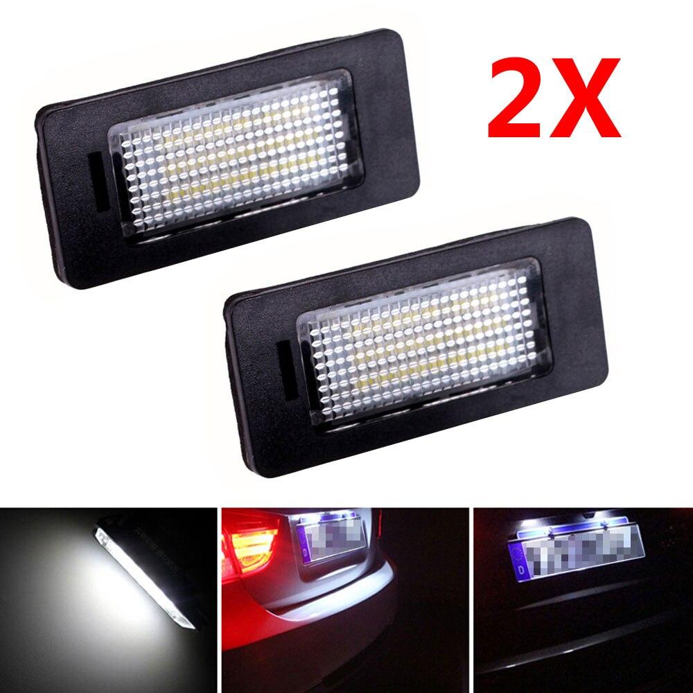 New 2Pcs LED License Plate Lights SMD3528 6000K Number Plate Light For BMW E82 E88 E90 E92 E93 E39 E60 Sedan M5 E70 X5 E71 E72<br><br>Aliexpress