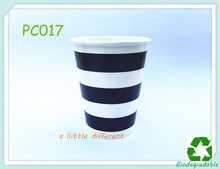 9OZ Black Striped Party Beverage Paper Cups For Kid's Birthday Baby Shower Celebrating Table Supplies