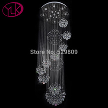 Dimmable Lights Modern Large 11PCS crystal ball design chandelier LED lustres de cristal Dia80*H300cm Long Stair Lighting(China)