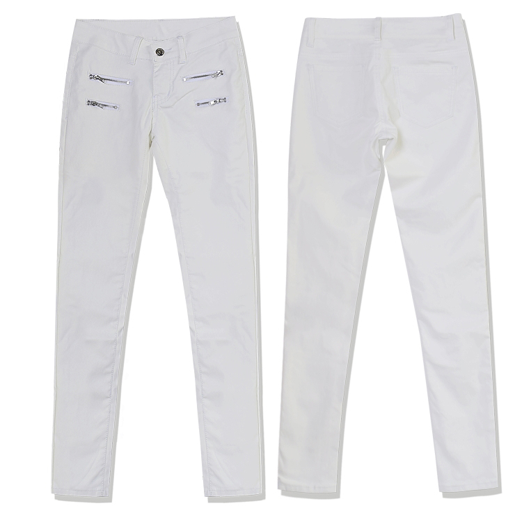 Europe and the United States women's low waist stretch pants feet double zipper PU white coating imitation leather pants large size (9)