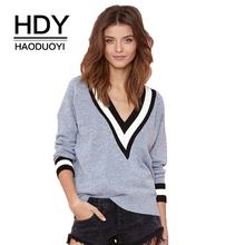 HDY Haoduoyi Autumn Winter Fashion Stripe V Neck Long Sleeve Casual Knitted Women Sweater Wine Pink Gray Black Pullovers Jumpers(China)