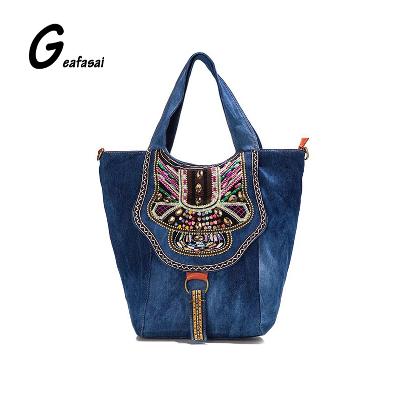 ethnic style embroidered colorful flowers Denim ladies large capacity handbag shoulder casual tote bags for women lady mujer<br>