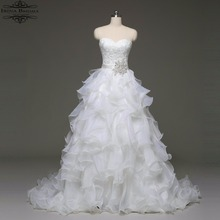 alibaba retail store Real Sample Sleeveless Lace Appliqued Pleat Organza Wedding Dress