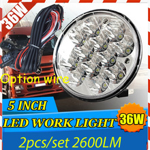 "Free DHL/UPS Ship,5"" 36W 2600LM 10~30V,6500K,LED working light;Free ship!Optional wire;motorcycle light,forklift,tractor light"