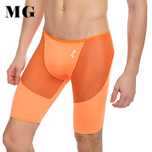 Mr.Gun Lycra Man Underwear Long Boxers Ice Silk Mesh Sexy Underwear Knee Length Shorts Intimate Panties Soft Skinny Boxer Short