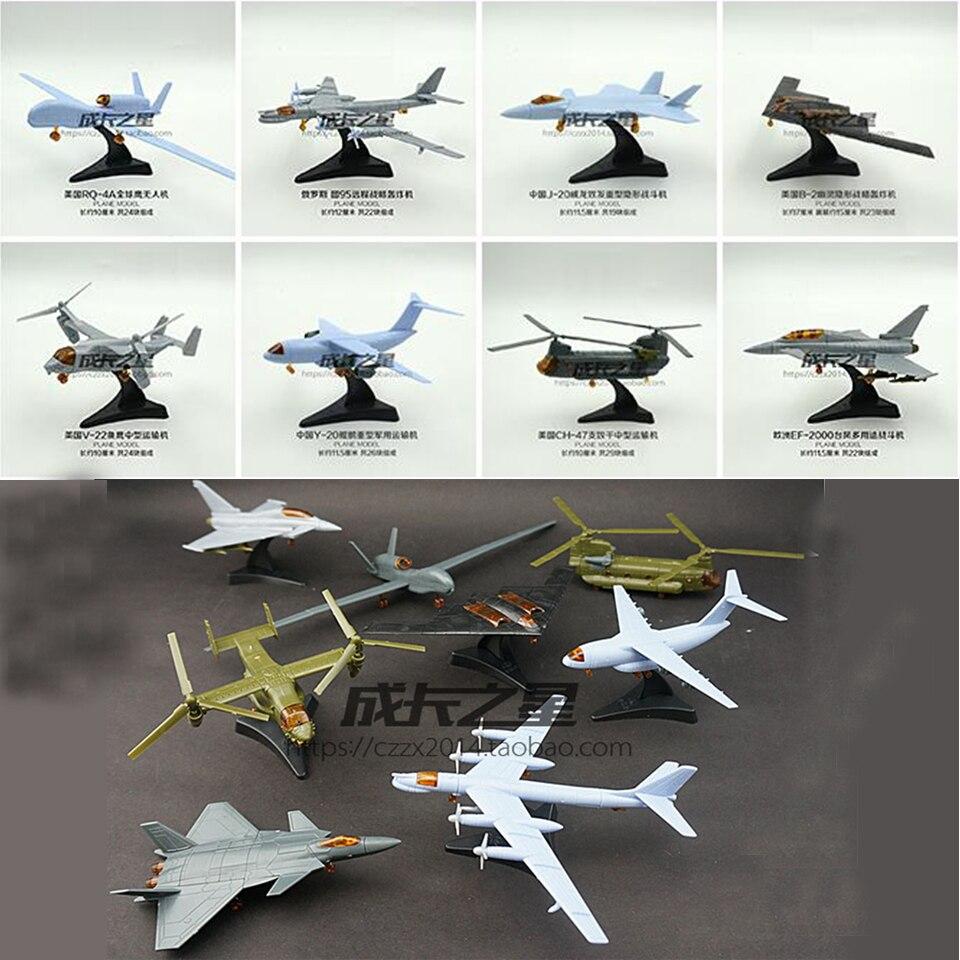 8pcs Fighter j-20 gemonteerd 4d mig-29 b2 rq-4a diy kits plane pvc 12cm puzzel plastic militaire helicopter monteren Assembling<br><br>Aliexpress