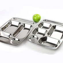 Ultra Deep Stainless Steel Dinner Plate Big Five Lattice & Six Lattice Fast Food Plate Student Canteen Service Plate