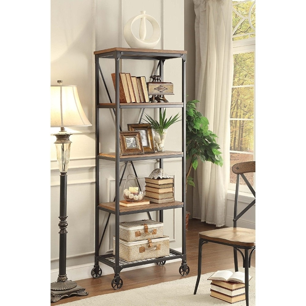 Industrial Style Metallic Book Case With Wooden Top And Shelves, Brown, Black,(5099-16) (1)