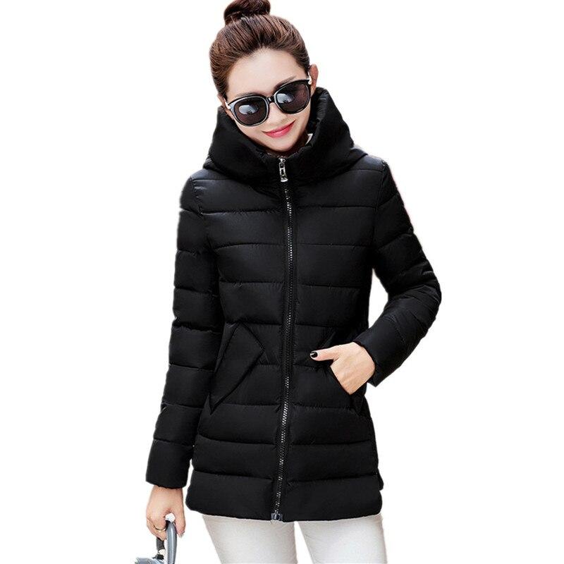 2017 Cotton Padded Hood Solid Color High Quality Parkas Thickening Winter Jacket Women Casual Parka Warm Slim Coat Women TT2464Îäåæäà è àêñåññóàðû<br><br>