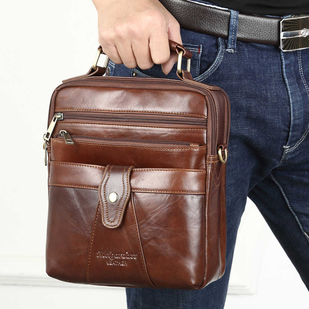 f817c595e981 New Business Mens Bags Handbags Genuine Leather Messenger Shoulder Bags  Male Travel Crossbody Bag iPad Tablet