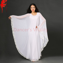 Women Elegant dance clothes girls fashion dress 3D mesh dresses belly dance dress dancer Practice clothing lady white costumes