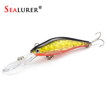 1Pcs Laser Wobblers Fishing Minnow Lure 3D Eyes Sinking Hard Bait Crankbait 6# hook Carp Pesca Fly Fishing Tackle(China)