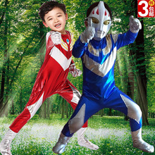 Children Ultraman Cartoon Costume Kids Halloween Cosplay Altman Clothes Boy Role Playing Costume Stage Performance Suit B-5044