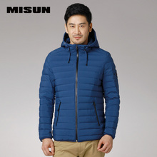 MISUN men down jacket seamless with a hood zippers slim short design sports casual stripe-stitch outerwear down coat & parkas