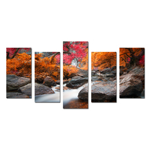 Red Maple Trees And Stone Nature Canvas Artwork for Wall Decor Landscape Frameless Picture For Living Room Modern Wall Hangings