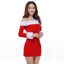 Christmas Dress Game Play Costume Female Santa Claus Reindeer Cosplay Costume Exotic Cosplay Disfraces Pleuche Hot Sale S37CK11(China)