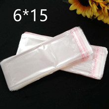 Clear Resealable Cellophane/BOPP/Poly Bags 6*15 cm  Transparent Opp Bag Packing Plastic Bags Self Adhesive Seal 6*15 cm