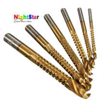 6Pcs/set high speed steel twist drill bit Titanium Coated HSS Drill & Saw Carpenter Woodworking drilling