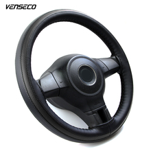 VENSECO sports breathable type steering wheel cover soft leather steering cover black & red style classic braid car wheel cover(China)