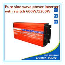 pure sine wave power inverter 600W DC24V to AC220V grid tie inverter,solar power inverter with auto transfer switch,car inverter