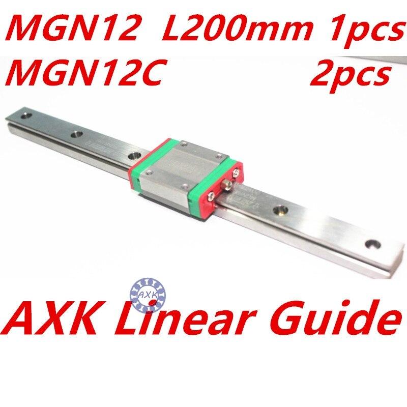 1pc 12mm width 200mm MGN12 linear guide rail +  2pc MGN MGN12C Blocks carriage CNC<br>