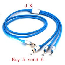 3 in 1 Type-C 8PIN Micro USB Fast Charging Cable Charger For iPhone 5 6 6S plus iPad Samsung s6 7 Android Type C Universal Cable