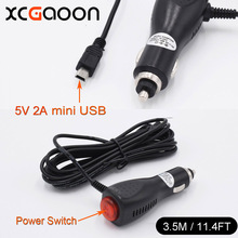 XCGaoon 3.5meter 5V 2A mini USB Car Charger Adapter with Switch for Car DVR Camera Video Recorder / GPS input DC 12V - 24V(China)