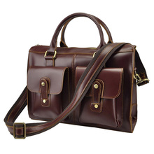 2017 New Retro Crazy Horse Genuine Leather Men Bag Business Shoulder Bag Briefcase Messenger Bandbag Men Bags(China)