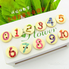 50pcs colorful number 0 to 10 figures wood buttons,kids children DIY handwork materials cloth sweater home textiles decorations(China)