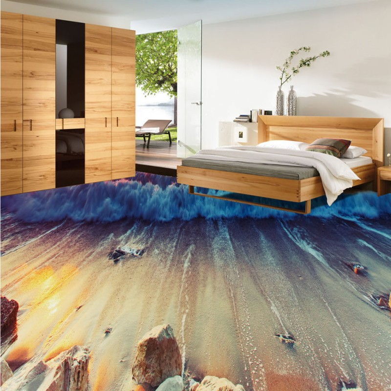 Free Shipping Sea View Beach Spray 3D Living Room Bathroom Flooring self-adhesive non-slip bedroom study lobby flooring mural<br>