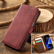 Retro Mesh PU Leather Breathable Mobile Shell Bag For Samsung Galaxy S7/G9300/G930A S7 Edge/G9350 Wallet Stand Flip Case Cover(China)