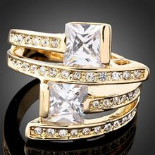 2017 New Crystal Engagement Rings For Women Dazzling 24K Gold Color Rhinestone Zircon Rings J00065
