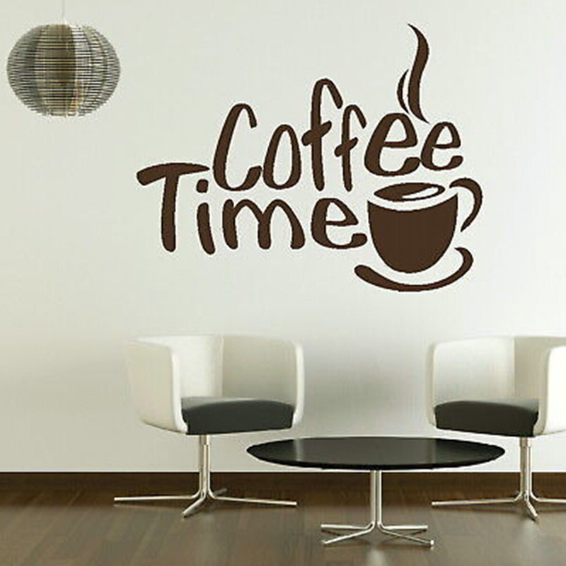 Image Coffee Time Wall Sticker 2016 New Creative adesivo de parede Home Decor Window Door Store Glass Stick Art Pic