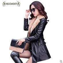 Women Faux Leather Jacket Autumn Winter New 2018 Fashion Slim Females Parkas Thicker PU Outerwear Elegant Fur collar Coat WLX565(China)