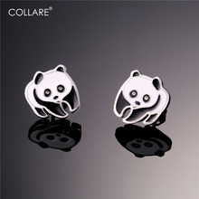 Collare Panda Earrings For Women Cute Animal Gold Color Stainless Steel Chinese Symbol Stud Earrings Fashion Jewelry E511(China)