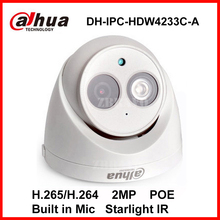 Dahua Starlight IP Camera DH-IPC-HDW4233C-A Built-in Mic 2MP IR 50M Network IP Camera Security Digital Dome Camera POE Onvif Cam